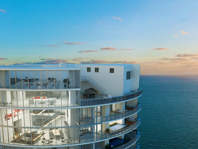"""Điểm ấn tượng đặc biệt của tòa tháp này đó là căn penthouse cao 4 tầng và rộng gần gần 1.600 m2. Nó có 2 bể bơi riêng biệt và """"garage để ô tô trên không"""". Hiện căn penthouse này đang rao bán với giá 32,5 triệu USD."""