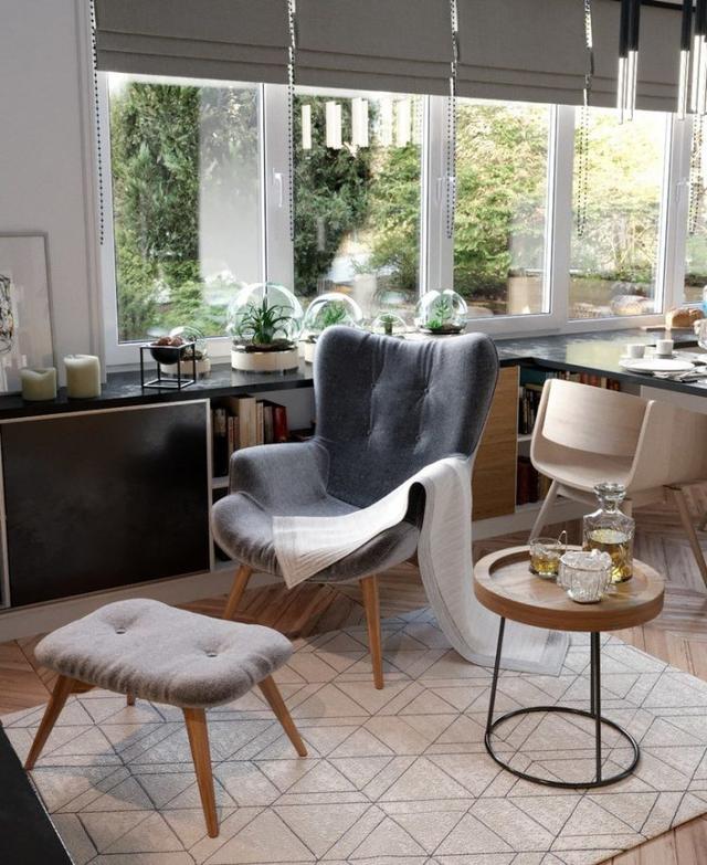 Không gian tiếp đón khách cũng được chọn lựa ở vị trí đẹp của căn hộ, nơi có cửa sổ rộng mở cùng ánh sáng tự nhiên luôn tràn ngập vào phòng.