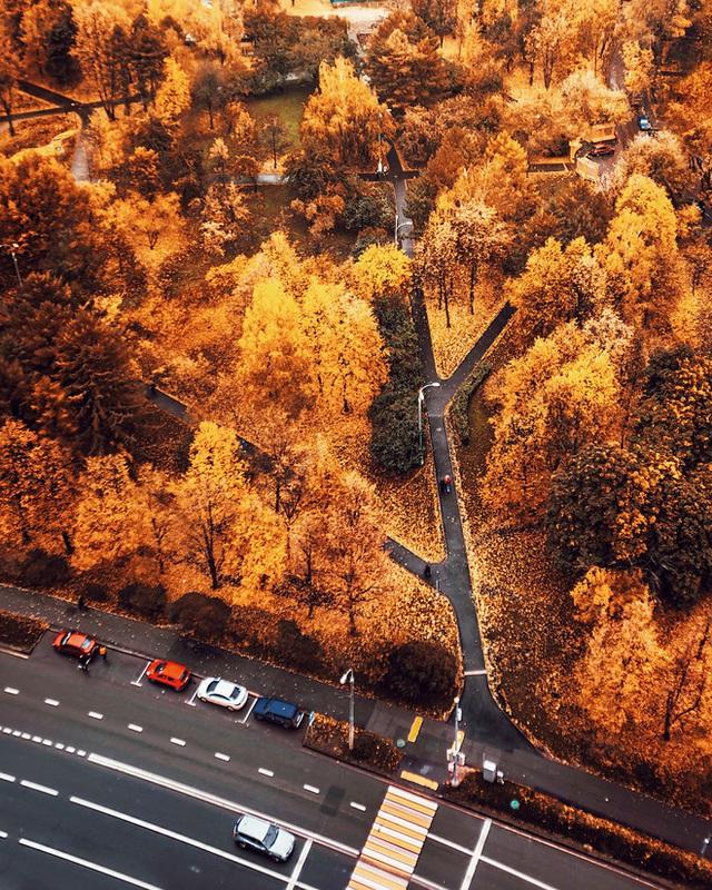 Một con đường tại thủ đô Mát Cơ Va, Nga nhìn từ trên cao.