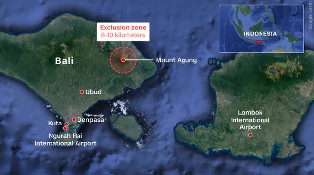 Khu vực núi lửa Agung trên đảo Bali, Indonesia. Nguồn: CNN