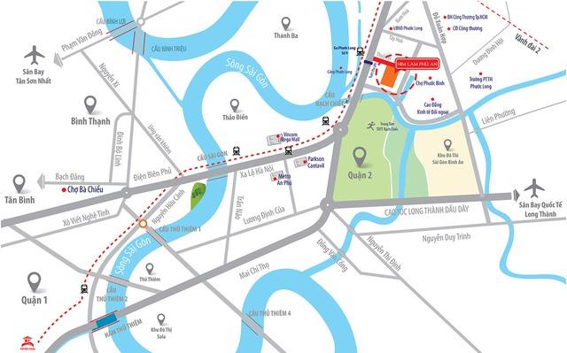 Dự án toạ lạc tại cửa ngõ ra vào khu Đông, đặc biệt nằm cạnh tuyến metro số 1.