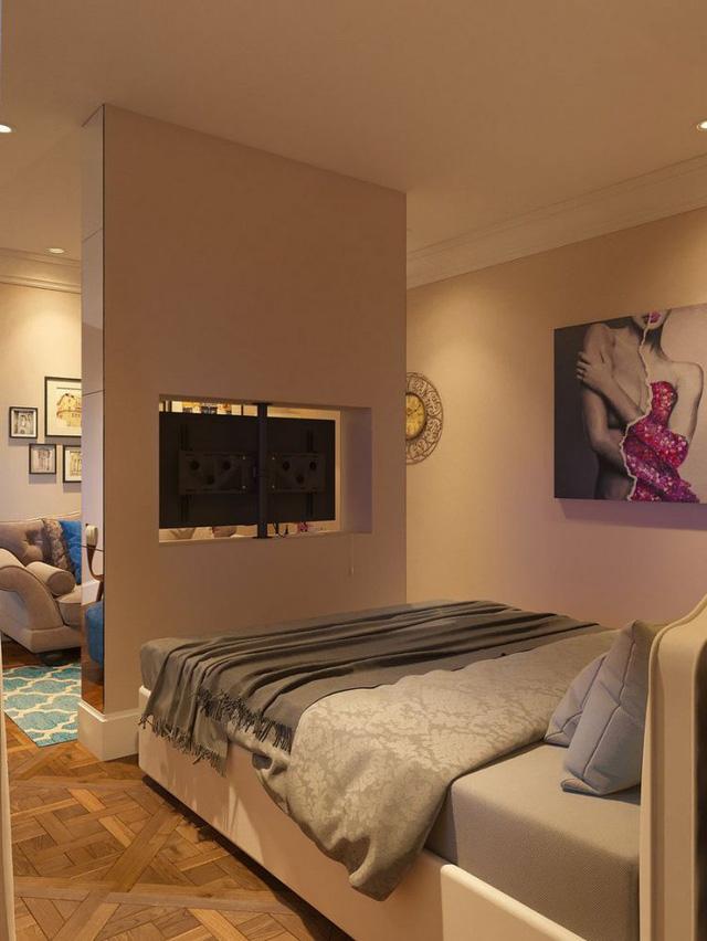 Nơi nghỉ ngơi được ngăn cách với phòng khách bằng một vách ngăn đơn giản.