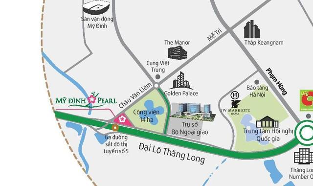 Mỹ Đình Pearl tọa lạc ngay mặt Đại Lộ Thăng Long cách Big C khoảng 1km.