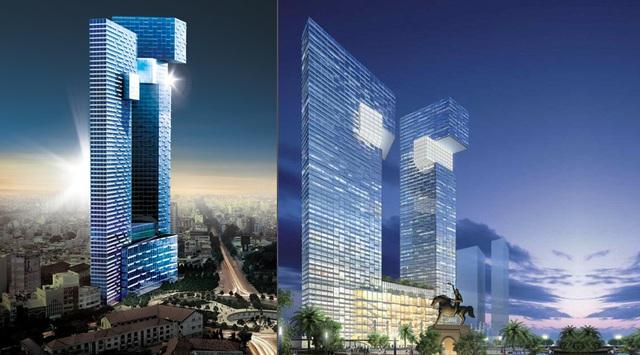 Phối cảnh 2 tòa tháp hình dáng 2 con rồng ngậm ngọc của Bitexco tại vòng xoay Bến Thành.