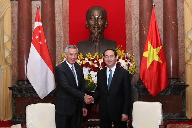 Chủ tịch nước Trần Đại Quang tiếp Thủ tướng Singapore Lý Hiển Long tại Phủ Chủ tịch.