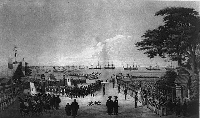 Năm 1852, thuyền trưởng người Mỹ Matthew C. Perry tới đây. Perry đàm phán với chính phủ Nhật Bản để mở hai cảng lớn trong khu vực, điều dẫn tới tình trạng lạm phát nghiêm trọng, kéo theo các cuộc biểu tình của người dân.