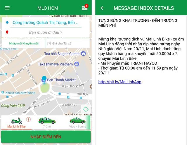 Giao diện ứng dụng Mai Linh Taxi và mã khuyến mãi nhân dịp hãng chính thức triển khai dịch vụ xe ôm công nghệ.