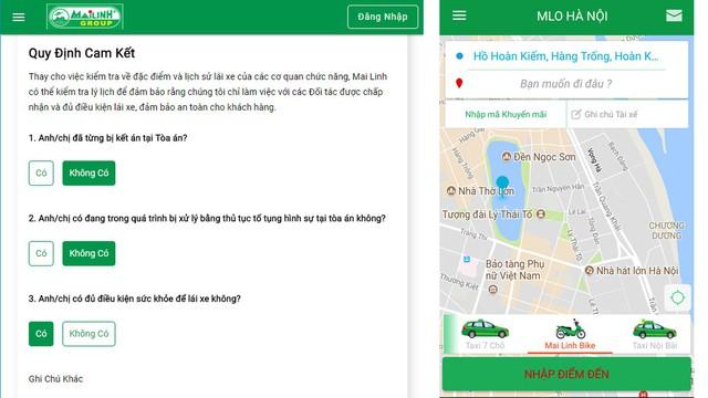 Ứng dụng Mai Linh Taxi chỉ còn nút Mai Linh Bike, thay vì M.Bike và M.Bike Premium như trước đó.
