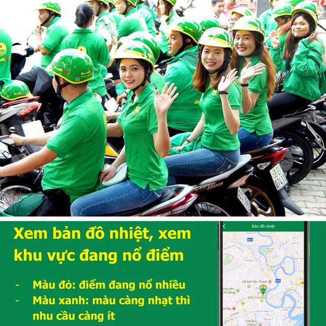 Tính năng Bản đồ nhiệt cho phép lái xe lái xe M.Bike biết được khu vực đang có nhu cầu lớn