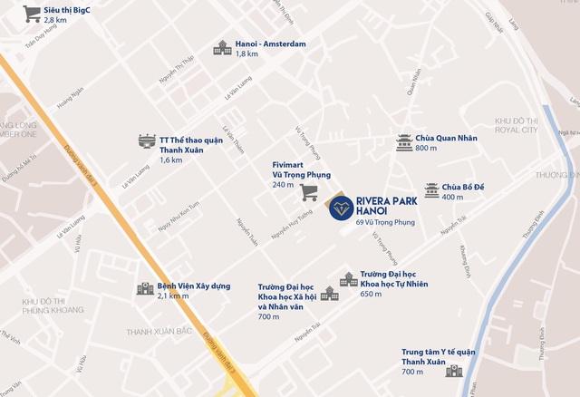 Vị trí Rivera Park trên đường Vũ Trọng Phụng.