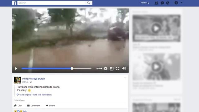 Một video giả mạo khác về siêu bão Irma có tới 20 triệu lượt xem.
