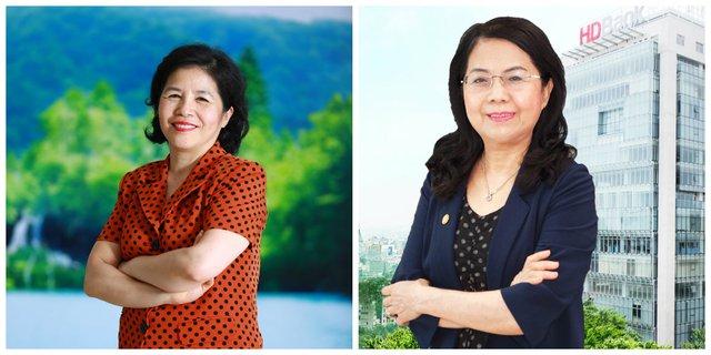 Hai nữ tướng của Vinamilk - bà Mai Kiều Liên (trái) Tổng giám đốc và bà Lê Thị Băng Tâm (phải) chủ tịch HĐQT
