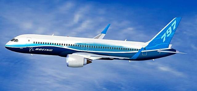 Một trong những hình mô phỏng máy bay Boeing 797, mẫu máy bay sẽ lấp đầy khoảng trống giữa những chiếc 737 và 787.