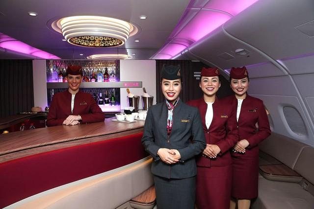 Khoang hạng nhất của Qatar Airways được trang trí sang trọng, nội thất thiết kế tinh tế và dịch vụ hoàn hảo
