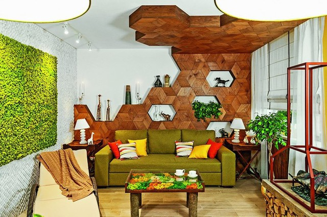 Ý tưởng sáng tạo với trần gỗ - Ảnh 1.