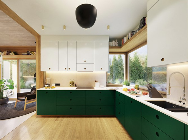 Tạo điểm nhấn ấn tượng cho ngôi nhà có màu xanh lá cây - Ảnh 5.