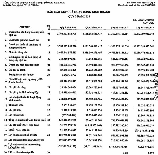 Sau nhiều quý giảm sút, PVS báo lãi hợp nhất hơn 222 tỷ đồng trong quý 3/2018, tăng gấp đôi cùng kỳ năm trước - Ảnh 2.