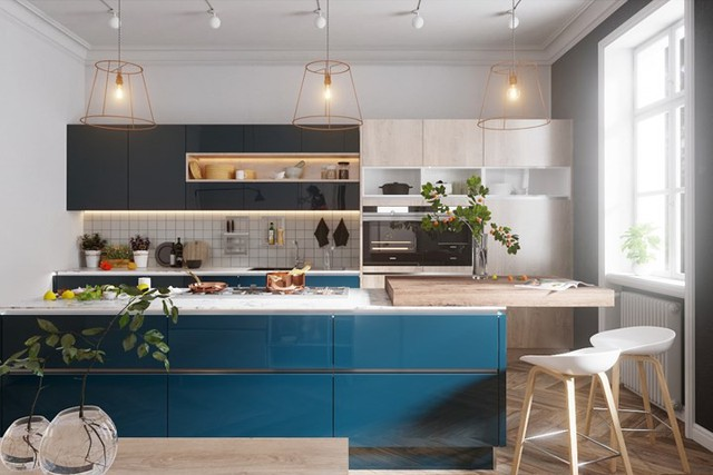Ngắm phòng bếp được thiết kế lung linh với màu xanh dương - Ảnh 6.