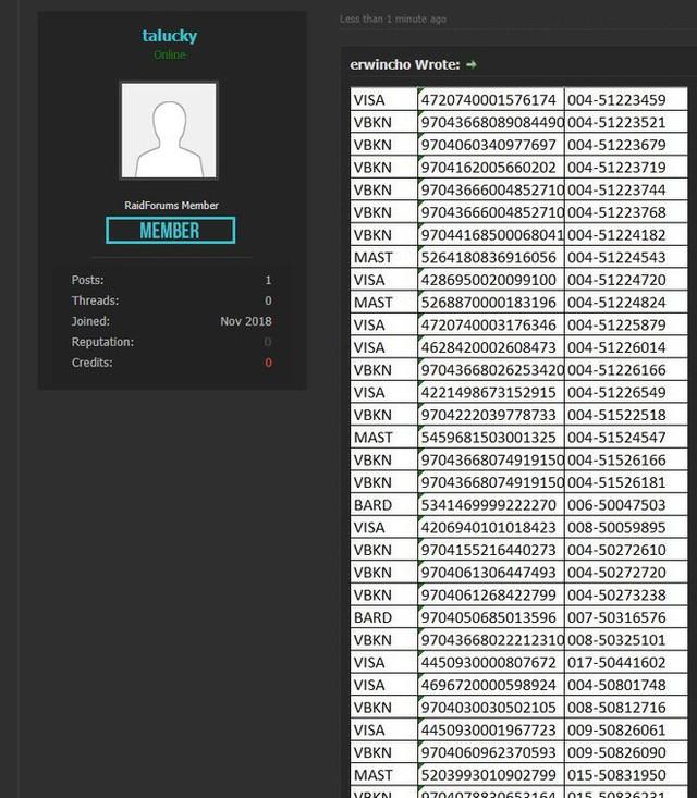 Hacker tung phần tiếp theo trong kho dữ liệu được cho là hack từ TGDĐ: Có đủ số thẻ, không hề bị ẩn - Ảnh 1.