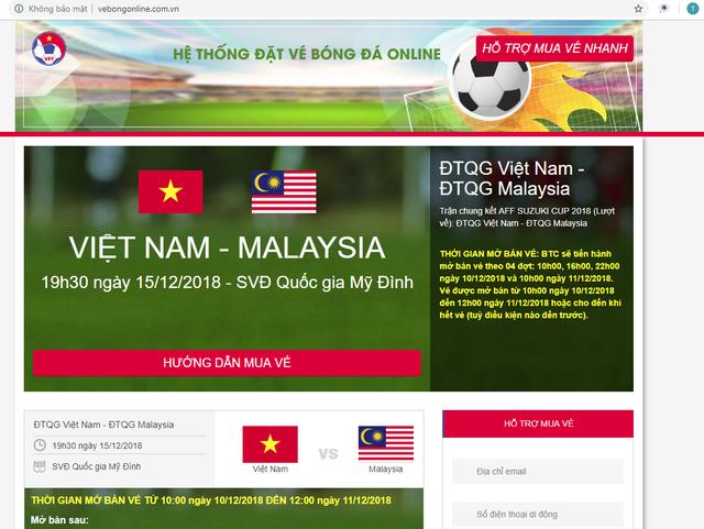 Xuất hiện nhiều website giả mạo VFF bán vé trận chung kết AFF Cup 2018 Việt Nam - Malaysia - Ảnh 1.