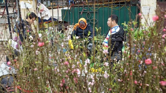 Hoa đào bung nở trong giá rét, khoe sắc trên phố Hà Nội   - Ảnh 5.