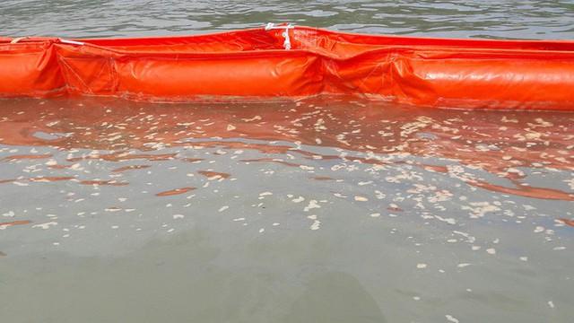 Cận cảnh vụ tàu chở dầu đâm cầu cảng, khiến dầu tràn ra biển - Ảnh 4.