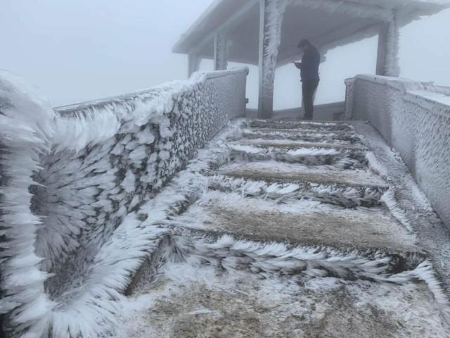 Băng tuyết phủ trắng nhà cửa, xe cộ ở đỉnh Mẫu Sơn - Ảnh 5.
