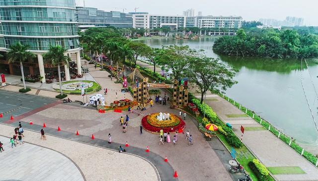 Toàn cảnh đường hoa xuân Mậu Tuất 2018 rực rỡ tại khu đô thị Ecopark và Phú Mỹ Hưng - Ảnh 2.