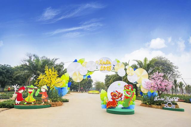 Toàn cảnh đường hoa xuân Mậu Tuất 2018 rực rỡ tại khu đô thị Ecopark và Phú Mỹ Hưng - Ảnh 14.