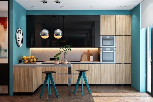 Những mẫu thiết kế nhà bếp đẹp mê li cho cô nàng thích màu xanh - Ảnh 3.