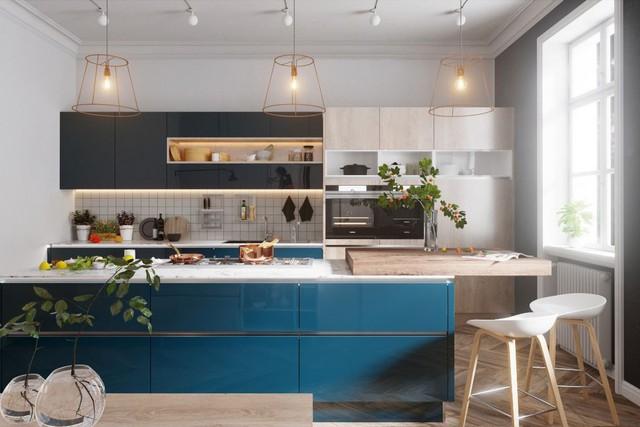 Những mẫu thiết kế nhà bếp đẹp mê li cho cô nàng thích màu xanh - Ảnh 4.