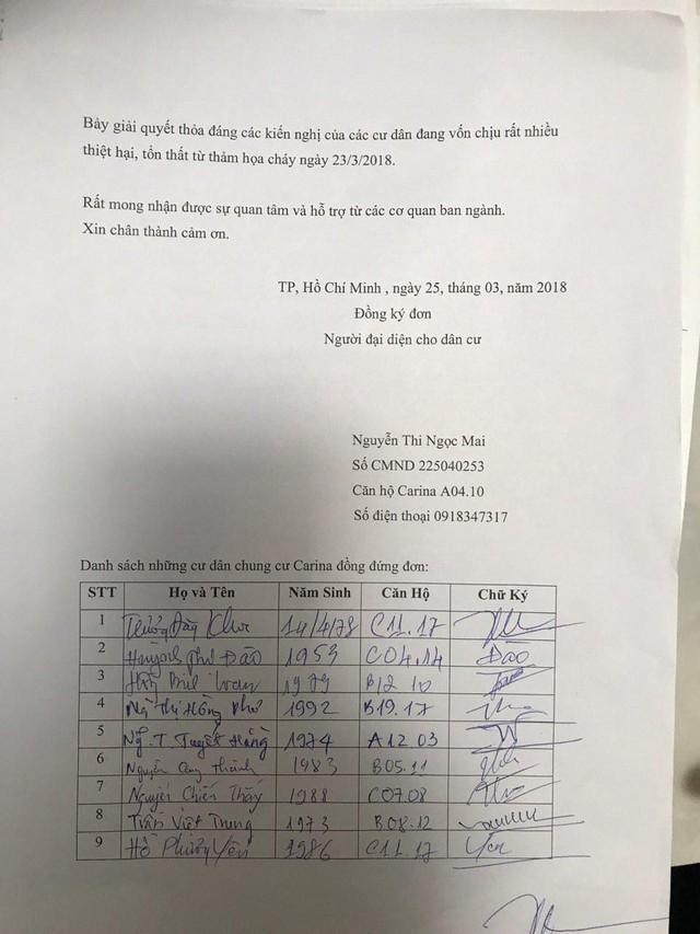 Sáng 25/4, cư dân chung cư Carina đồng loạt ký đơn tố chủ đầu tư - Ảnh 2.