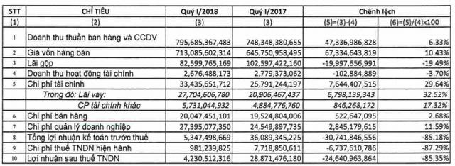 Casumina (CSM): Gánh nặng chi phí, LNST quý 1/2018 chỉ bằng 15% cùng kỳ - Ảnh 2.