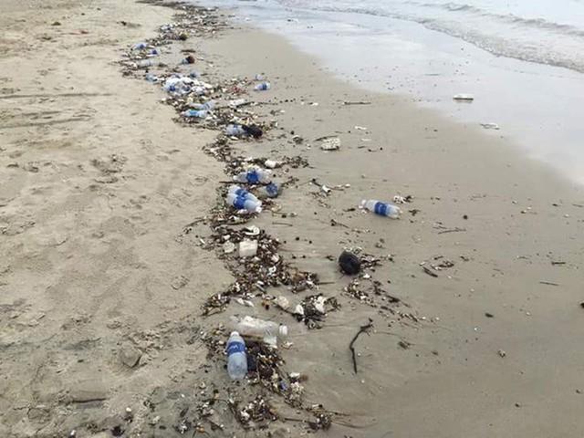 Bãi biển Đà Nẵng ngập rác vì mưa lớn trong ngày hàng nghìn du khách đổ về nghỉ lễ - Ảnh 1.