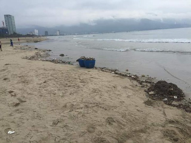 Bãi biển Đà Nẵng ngập rác vì mưa lớn trong ngày hàng nghìn du khách đổ về nghỉ lễ - Ảnh 2.