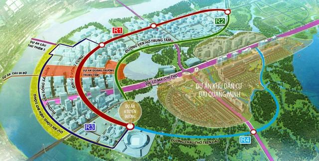 Sơ đồ 4 đại lộ vòng cung chạy quanh bán đảo Thủ Thiêm.