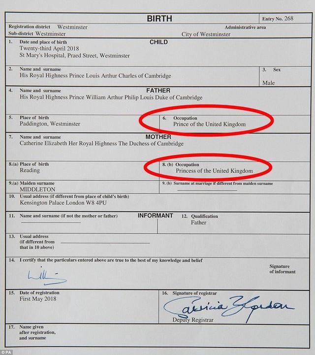 Giấy khai sinh của con trai thứ 3 tiết lộ nghề nghiệp đặc biệt của hoàng tử William và Công nương Kate - Ảnh 3.