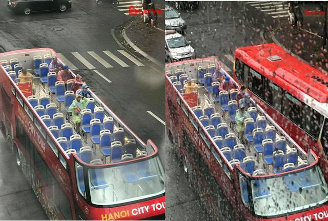 Hàng loạt hành khách mặc áo mưa trải nghiệm du lịch Hà Nội trên xe bus 2 tầng - Ảnh 1.