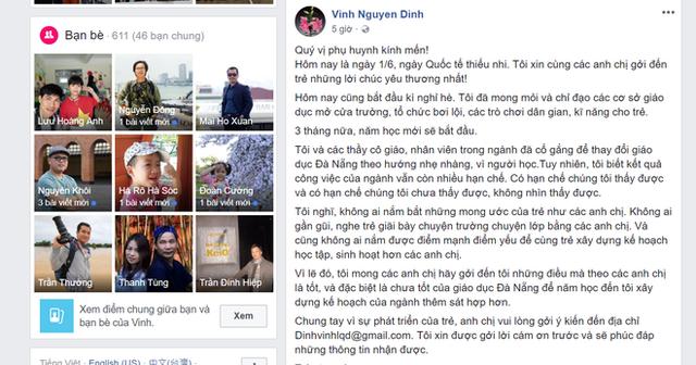 Giám đốc Sở Giáo dục Đà Nẵng viết tâm thư cho phụ huynh, công bố email trên facebook - Ảnh 1.
