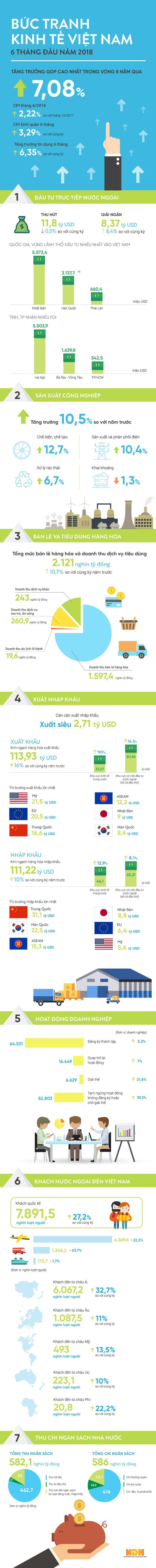 [Infographic] Bức tranh kinh tế 6 tháng đầu năm qua các chỉ số - Ảnh 1.