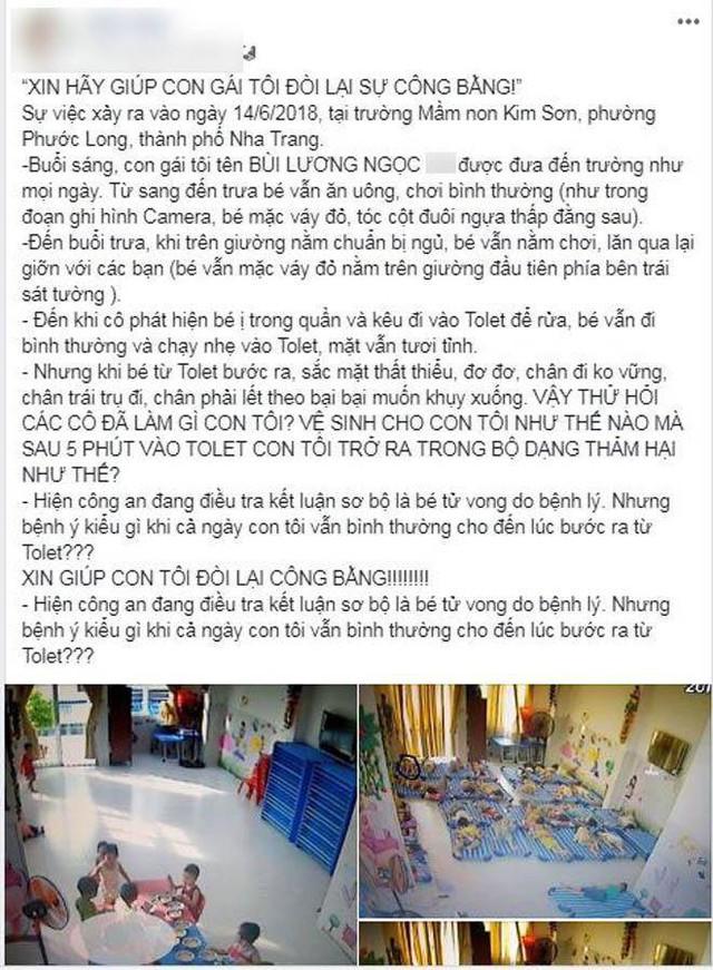 Kết luận giám định pháp y vụ bé gái 4 tuổi tử vong bất thường tại trường mầm non ở Nha Trang: Là do bệnh lý - Ảnh 2.