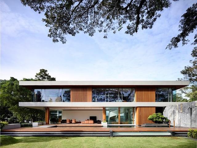Biệt thự trang trí bằng gỗ ấn tượng - Ảnh 1.