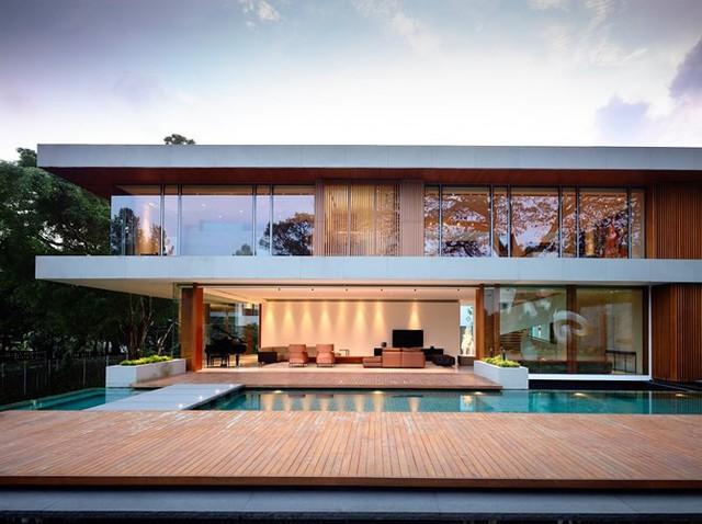 Biệt thự trang trí bằng gỗ ấn tượng - Ảnh 2.