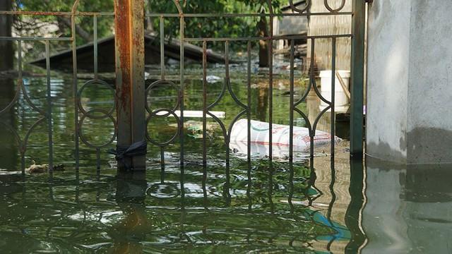 Rác thải cùng nước len lỏi vào nhà dân vùng rốn lũ Hà Nội  - Ảnh 12.