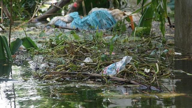 Rác thải cùng nước len lỏi vào nhà dân vùng rốn lũ Hà Nội  - Ảnh 15.