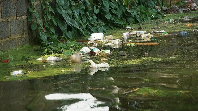 Rác thải cùng nước len lỏi vào nhà dân vùng rốn lũ Hà Nội  - Ảnh 6.