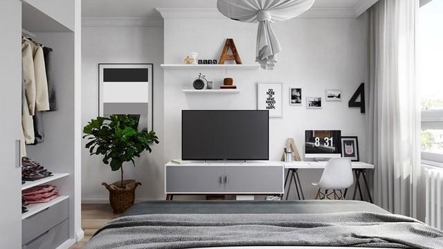 Căn hộ đẹp lạ được trang trí bằng hai màu sắc xám và trắng - Ảnh 8.