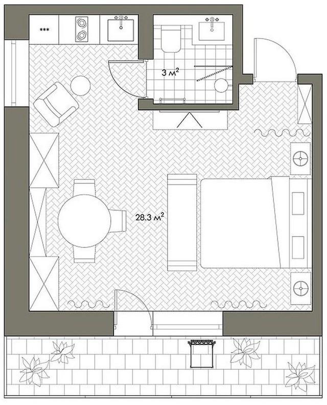 Cuộc sống tiện nghi và thoải mái trong căn hộ chỉ vẻn vẹn 31m2 - Ảnh 11.