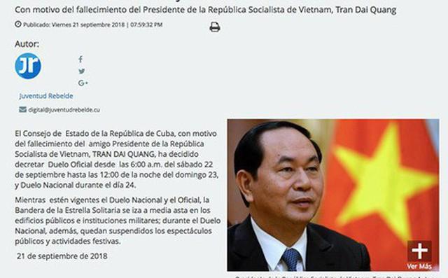 Cuba tuyên bố quốc tang tưởng niệm Chủ tịch nước Trần Đại Quang - Ảnh 1.
