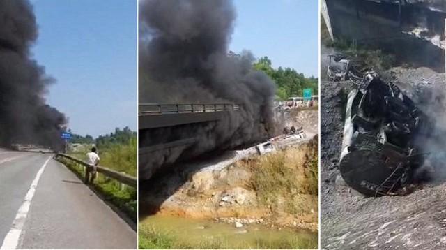 Xe bồn chở dầu bốc cháy dữ dội ở cao tốc Nội Bài - Lào Cai - Ảnh 1.